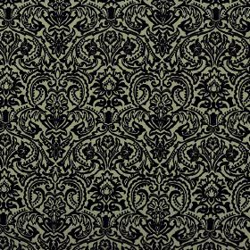 Vertino - Black Grey (64) - Large, repeated ornate floral patterns creating a striking black design on a pale green 100% polyester fabric ba
