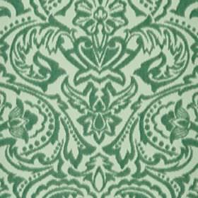 Vertino - Blue (65) - Two shades of mint green making up a large, ornate, striking floral pattern on fabric made entirely from polyester