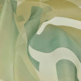 Spectrum - Green (1) - Very thin fabric made from polyester and rayon in off-white along with light grass, dusky jade and olive shades of gr