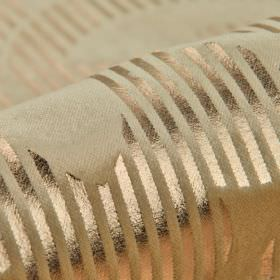 Antarc - Cream Gold (1) - Metallic copper coloured stripes running across a beige-grey cotton, polyester and viscose blend fabric