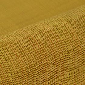 Denver - Orange1 - 100% Trevira CS fabric made with mustard yellow, light orange and dark brown coloured threads