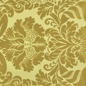 Stelline - Brown Beige (1) - A simple but ornate plain dark gold coloured jacquard style pattern on light yellow 100% Trevira CS fabric