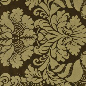Stelline - Brown Beige (2) - Very dark brown coloured 100% Trevira CS fabric behind a simple but ornate jacquard style pattern in green-grey