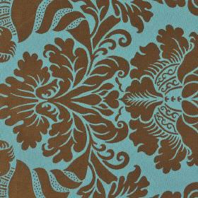 Stelline - Brown Blue (3) - Large jacquard style patterns printed in chocolate brown on an aqua blue coloured 100% Trevira CS fabric backgro