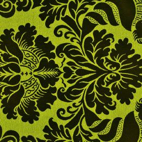 Stelline - Brown Green - Fabric made from 100% Trevira CS with a simple but ornate jacquard style pattern in black and lime green colours