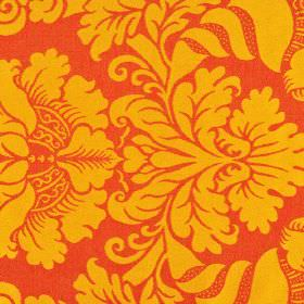 Stelline - Red Yellow (5) - Bright orange coloured 100% Trevira CS fabric behind a jacquard style print pattern in a lighter shade of orange