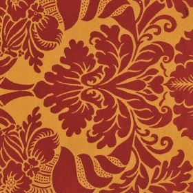Stelline - Red Yellow2 - A large, ornate jacquard style pattern printed in burgundy on a bright orange 100% Trevira CS fabric background