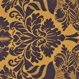 Stelline - Brown Purple (7) - Fabric made from light orange coloured 100% Trevira CS behind a jacquard style pattern in a very dark brown-bl