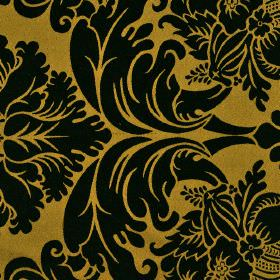 Stelline - Brown Black (8) - Brown-yellow coloured 100% Trevira CS fabric behind a large, simple jacquard style pattern in solid black