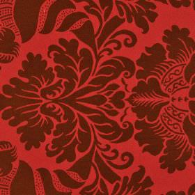 Stelline - Brown Red - Dark brown jacquard style patterns creating a large, simple, ornate design on bright red 100% Trevira CS fabric