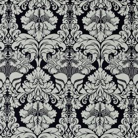 Stelline - Black White - Large, ornate jacquard style patterns repeatedly printed on black 100% Trevira CS fabric in a very pale shade of gr