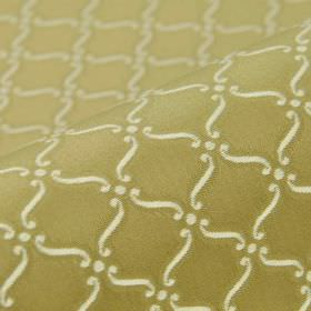 Triennale - Brown Cream (20) - Small off-white scrolls and dots printed in a repeated pattern on khaki coloured 100% Trevira CS fabric