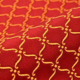 Triennale - Red Gold (25) - Fabric made from 100% Trevira CS with a small, simple scroll and dot pattern in luxurious burgundy and golden ye