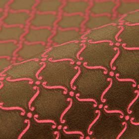 Triennale - Brown Pink (28) - Fabric made from strawberry and chocolate brown coloured 100% Trevira CS, featuring a pattern of small scrolls
