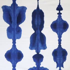 Inkat - Ink Blue - Abstract inky blue coloured shapes printed in rows on bright white linen cotton union fabric