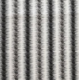 Leina - Steel and Charcoal - Linen, cotton and nylon blend fabric in white, printed with black and very dark grey vertical stripes with blurre
