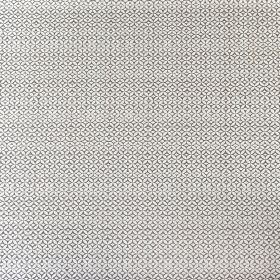 Portia - Mushroom - White fabric made from linen, cotton and nylon, behind a small, delicate geometric pattern in dark grey