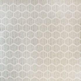 Asali - Celadon and Steel - A honeycomb style hexagon design in pale grey, on a slightly streaky light grey linen, cotton and nylon fabric backg