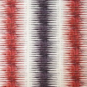 Alana - Aubergine and Brick - Mosaic style vertical stripes with rough, streaky edges in burgundy and dark blue on white linen, cotton and nylon