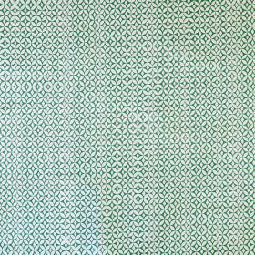 Portia - Lake Green - Linen cotton union fabric printed in white and emerald green with a small, repeated, regular, circular geometric patte
