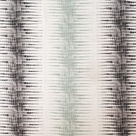 Alana - Celadon and Steel - Fabric made from white linen, cotton and nylon, with mosaic style vertical stripes with streaky edges in shades of