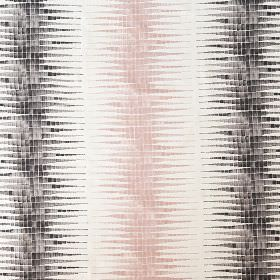 Alana - Chalk Pink & Steel - Light pink, dark grey and white linen, cotton & nylon fabric, featuring mosaic style vertical stripes with stre