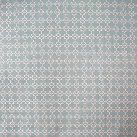 Korla - Aqua - A small, repeated geometric pattern printed in white, light grey and duck egg blue on 100% cotton canvas fabric