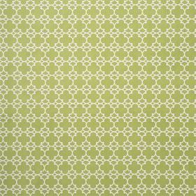Korla - Olive - Fabric made from 100% cotton canvas in white and apple green, with a small, repeated geometric style pattern