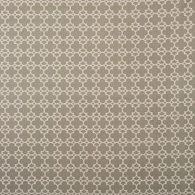 Korla - Mushroom - 100% cotton canvas fabric printed with a small, repeated geometric style pattern in cream and grey-brown colours