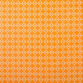 Korla - Ayers Rock - Bright orange and off-white coloured small, repeated geometric style patterns printed on 100% cotton canvas fabric
