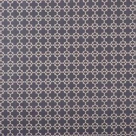 Korla - Blue Black - Fabric made from very dark blue-grey & white coloured 100% cotton canvas, with a small, repeated geometric style patter