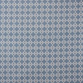 Korla - Storm Blue - Dusky blue and white coloured 100% cotton canvas fabric featuring a small, repeated pattern in a geometric style
