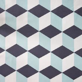 Cubes - Aqua - Cube print linen cotton herringbone fabric made with a simple, repeated design in white, light blue and midnight blue