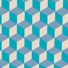 Cubes - Turquoise - Two different bright blue shades printed with cream in a simple, repeated cube design on linen cotton herringbone fabric