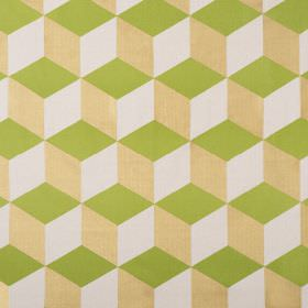 Cubes - Grass - Lime green, limestone and white coloured linen cotton herringbone fabric printed with a simple, repeated cube design