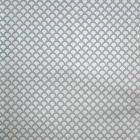 Kyoto Koi - Aqua - Rows of small, tightly spaced, dusky blue-grey coloured scallops printed on off-white linen cotton herringbone fabric