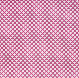 Kyoto Koi - Fuchsia - Fabric made from linen cotton herringbone with a small, tightly spaced scallop design in white and shocking pink