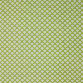 Kyoto Koi - Celery - Linen cotton herringbone fabric printed with a white and very light green coloured design of rows of small scallops