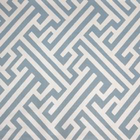 Grand Bhutan Lattice - Angel Blue - Angular lines and maze style patterns printed in white and light dusky blue on linen cotton twill fabric