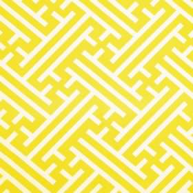 Grand Bhutan Lattice - Citron - Bright yellow and white coloured linen cotton twill fabric printed with angular lines and maze style pattern