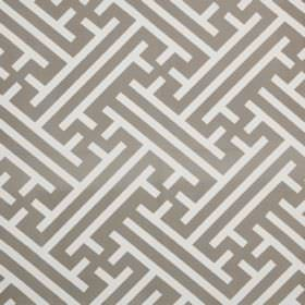 Grand Bhutan Lattice - Mushroom - Linen cotton twill fabric printed with angular lines and maze style patterns in steel grey and white colou