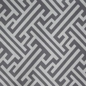 Grand Bhutan Lattice - Steel - Fabric made from linen cotton twill with a pattern of angular lines &maze style designs in two different shad