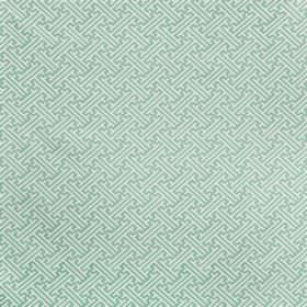 Bhutan Lattice - Eau - Seafoam and white coloured angular lines and maze style patterns printed on fabric made from linen cotton twill