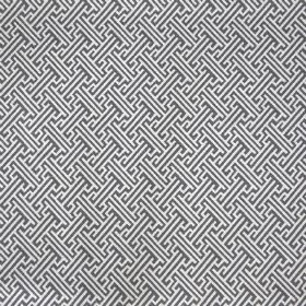 Bhutan Lattice - Steel - Dark grey and white coloured linen cotton twill fabric with a repeated design of angular lines and maze style patte