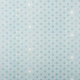 Alhambra Stars - Angel Blue - Circles and dots of different sizes printed in light blue and white on 100% cotton twill fabric