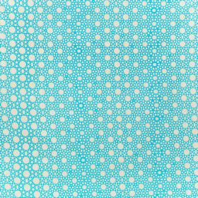 Alhambra Stars - Turquoise on Dark Natural - Bright aqua blue and white coloured 100% cotton twill fabric printed with circles and dots of d