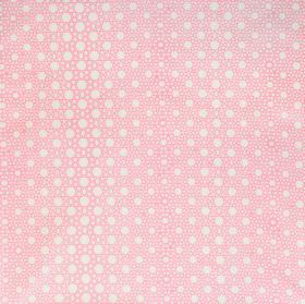 Alhambra Stars - Rosebud - Different sized circles and dots printed on 100% cotton twill fabric in white and baby pink