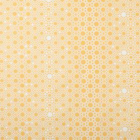 Alhambra Stars - Mustard - Fabric made from 100% cotton twill with a pattern of circles and dots of different sizes in white and honey yello