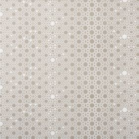 Alhambra Stars - Mushroom - 100% cotton twill fabric made in white and dove grey, with a pattern of different sized dots and circles