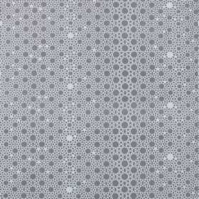 Alhambra Stars - Steel - Dark grey and white circles and dots of different sizes printed on fabric made from 100% cotton twill
